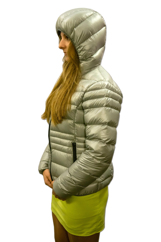 Sweter puchowy damski z zintegrowanym kapturem
