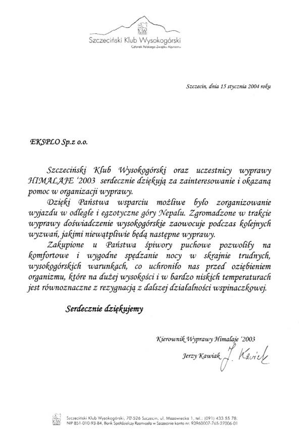 Podziękowania Szczeciński Klub Wysokogórski